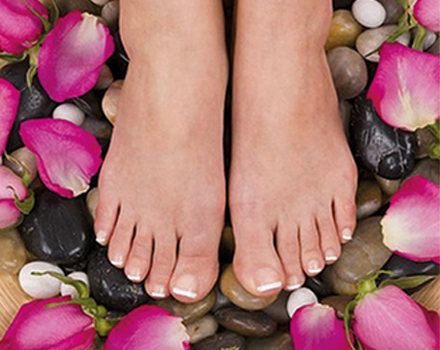 Reflexology therapy with flowers